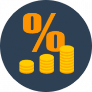 Coins and Percent Sign Icon